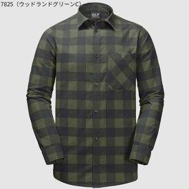 ○ジャックウルフスキン W1402551_7825・レッドリバーシャツ メンズ(ウッドランドグリーンチェック)【40%OFF】