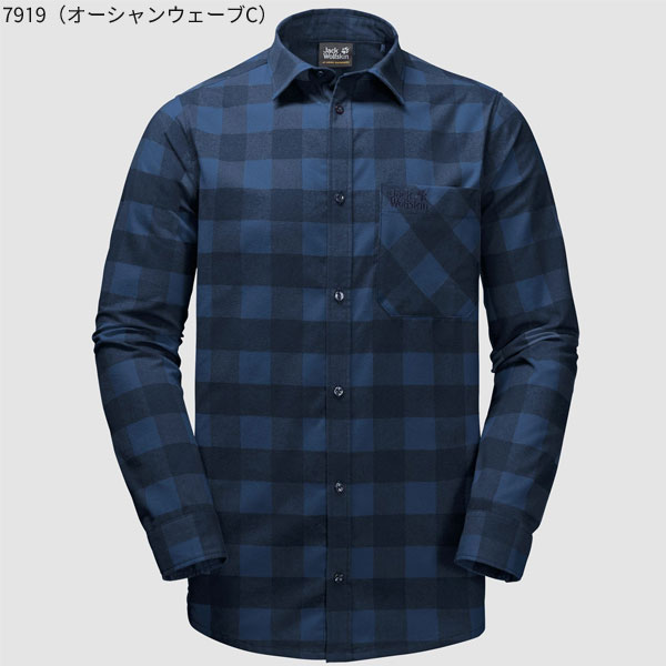 ○ジャックウルフスキン W1402551_7919・レッドリバーシャツ メンズ(オーシャンウェーブチェック)