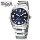 国内正規品エポスEPOS 3411ABLM「腕時計」 「スイス製自動巻】メタルバンド ブルー文字盤 5気圧防水 39ミリケース