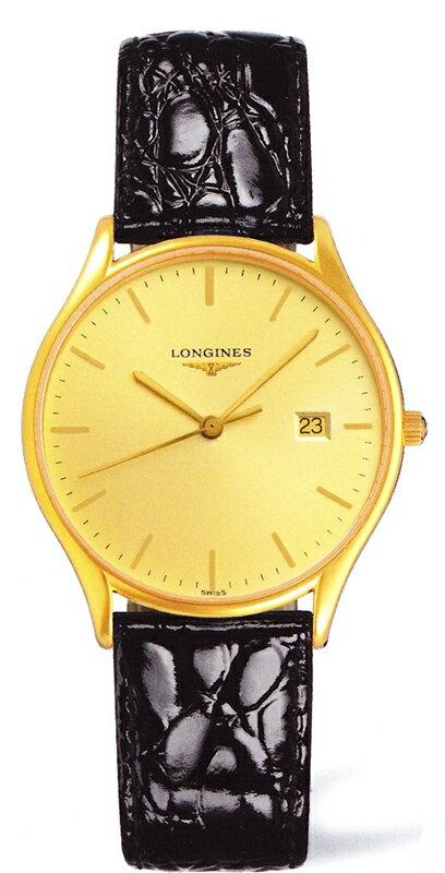 正規品ロンジンlongines  「ラ・グランクラシック」 La Grande Classique メンズウォッチ 35mmケース クォーツ腕時計 ゴールドPVD 革ストラップ 【L4.759.2.32.2】【L47592322】