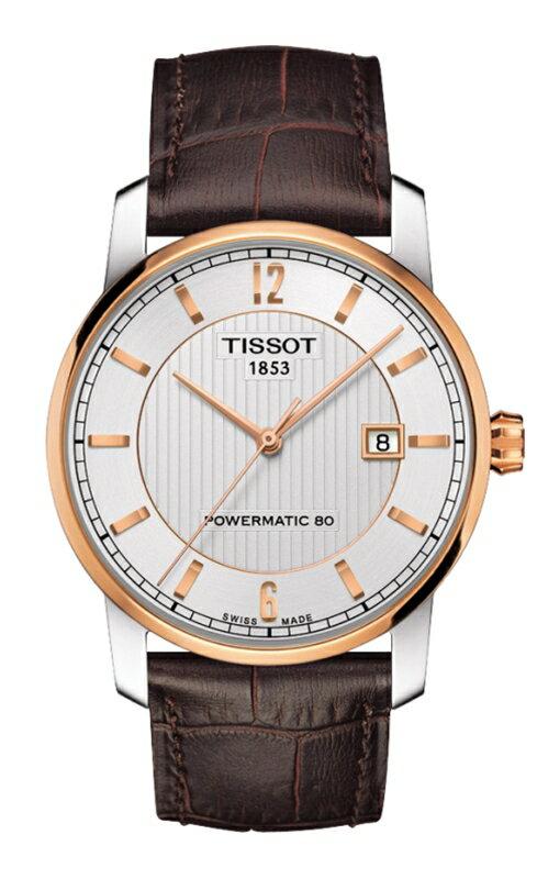 正規品TISSOT ティソ「チタニウムパワーマテック80」Luxury Automatic 自動巻きデイト ホワイトシルバー文字盤 ピンクゴールドPVD カーフストラップ パワーリザーブ80時間 T087.407.56.037.00