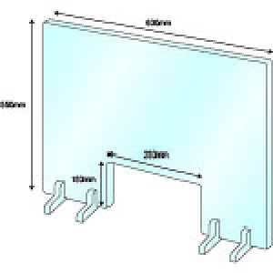 IM 飛沫感染対策アクリルパネル1窓有スタンド式(スタンド4個付き透明アクリルW600*H550*3mm) 〔品番:AMACRYP1〕[2153016]1100「送料別途見積り,法人・事業所限定,直送」