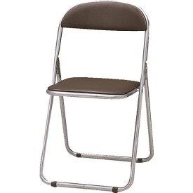 TRUSCO 折りたたみパイプ椅子 ウレタンレザーシート貼り ブラウン 〔品番:FC-1000TS BR〕[5125006]