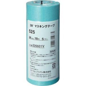 3M マスキングテープ 525 24mmX18m 5巻入り 〔品番:525〕[7782969]