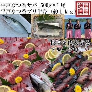 青空レストラン に出た フルーツ魚 送料無料 平戸なつ香サバ 約500g 1尾と平戸なつ香ブリ(半身・真空パック・あら無し)刺身 で 1kg フィーレ 長崎を代表する フルーツ 魚 鰤 鯖 サバ 活〆