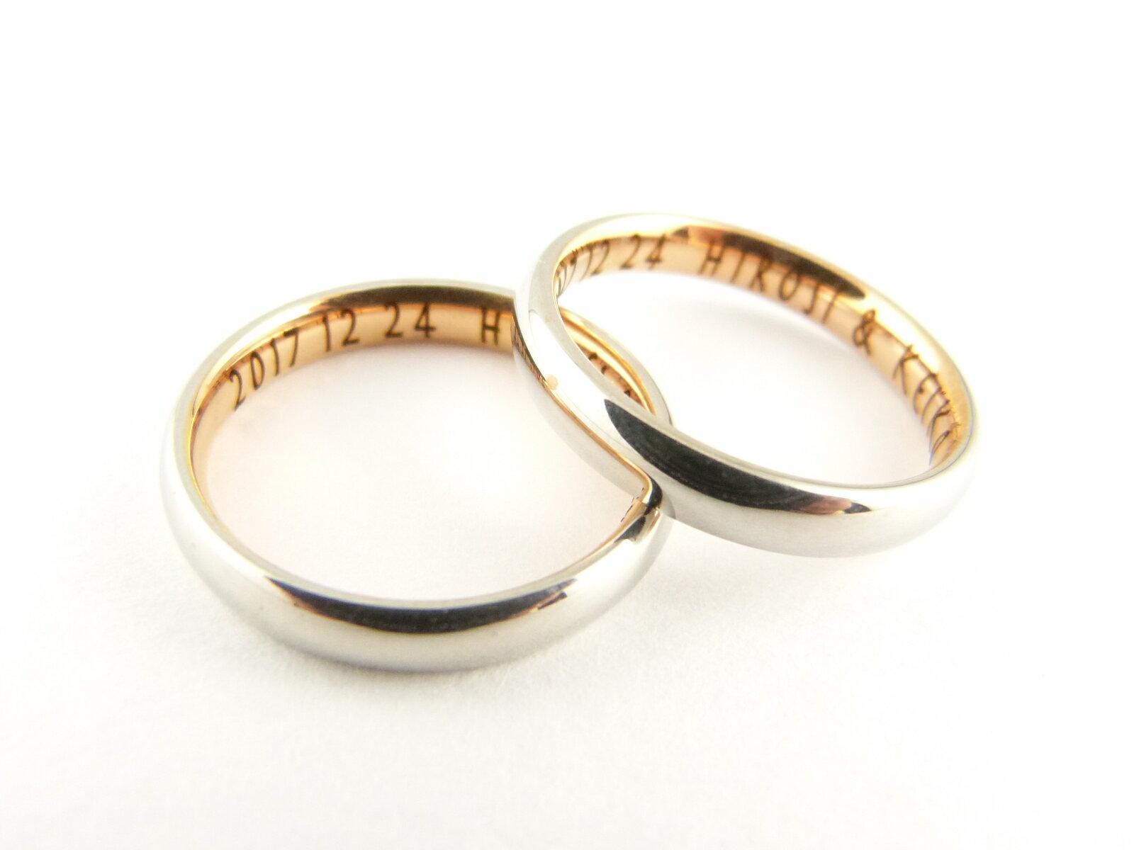 【ネーム刻印無料】「ピンクゴールド色」月のうさぎ 316Lステンレス【2本】「ペアリング、結婚指輪」