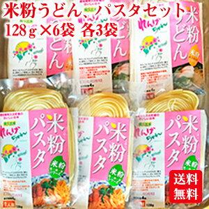 送料無料 米粉うどん、米粉パスタ 6食セット 米粉 麺 国産 小麦卵アレルギー アトピー 食塩不使用 グルテンフリー コシヒカリ お歳暮 お中元