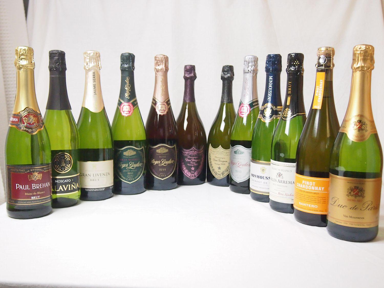 噂のドンペリ飲み比べ12本セット(ドン ペリニヨン ロゼ、ドンペリニヨン白+ロジャーグラートロゼ750+世界の厳選スパークリングワイン 750ml×12本