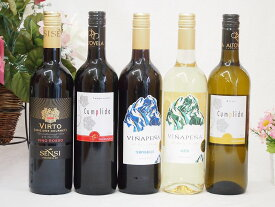 【最大2000円オフクーポン11日1:59迄】ワインセット セレクションスペイン+イタリアワイン5本セット(赤3本、白2本)で750ml×5本