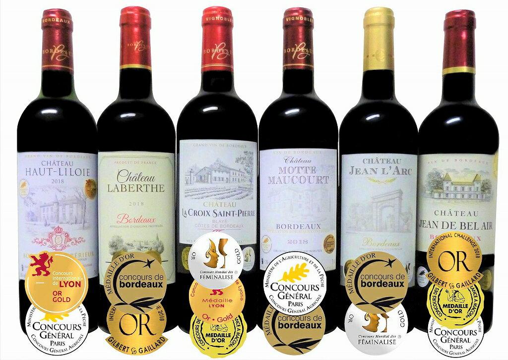 ALLダブル金賞受賞フランスボルドー産 ソムリエ厳選 赤ワイン6本セット(当り年も4本入)750ml×6本