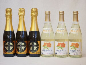 日本酒スパークリング飲み比べ6本セット(山元酒造 薩摩スパークリングゆずどん(鹿児島県) おたる微発泡ナイアガラ白ワイン(北海道)) 375ml×3本 500ml×3本