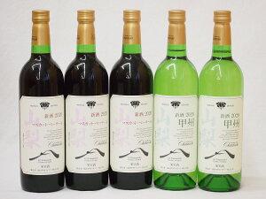 山梨県産100%ワイン5本セット(山梨県産マスカット・ベーリーA赤ワイン(ライトボディ) 山梨県産甲州種ぶどう白ワイン(やや辛口))750ml×5