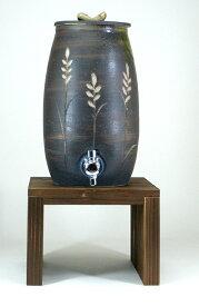 信楽焼・明山窯 尺徳利 焼酎サーバー 麦の穂 黒釉彫 3000cc (s10-15) バレンタイン