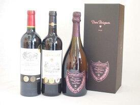 ドンペリニヨンロゼのドンペリとダブル金賞受賞 赤ワイン フランス ボルドー産 ソムリエ厳選2本 計3本