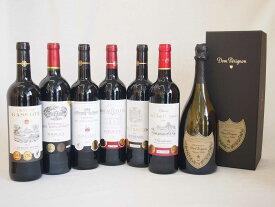 ドンペリニヨンのドンペリ白とダブル金賞受賞 赤ワイン フランス ボルドー産 ソムリエ厳選6本 計7本