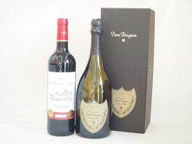 ドンペリニヨンのドンペリ白とダブル金賞受賞 赤ワイン フランス ボルドー産 ソムリエ厳選 計2本