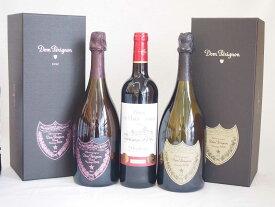 ドンペリニヨンロゼのドンペリ ドンペリ白 ダブル金賞受賞 赤ワイン フランス ボルドー産 ソムリエ厳選 計3本