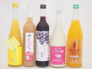 一度飲んでみたかった果物のお酒5本セット ヨーグルト梅酒×ももとろリキュール(福島県)×ブルーベリー×ゆず梅酒(福岡県)×日本酒オレンジ(三重県) 500ml×3本 720ml×2本