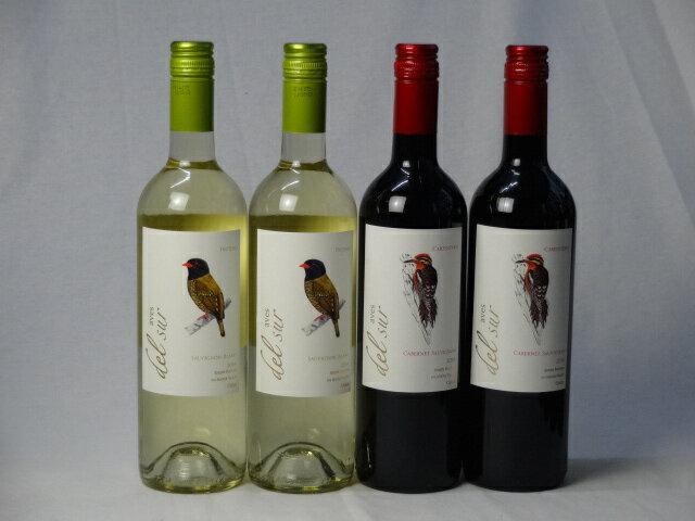 チリ白赤ワイン4本セット デル・スール カベルネ・ソーヴィニヨン フルボディ2本 デルスール ソーヴィニヨン ブラン 辛口2本 750ml×4本