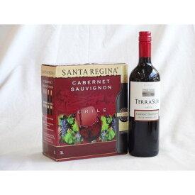 ワインセット チリ産大容量赤ワイン飲み比べセット(サンタ・レジーナ カベルネ・ソーヴィニヨン 赤ワイン フルボディ3000ml