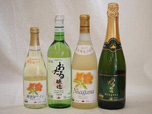 北海道おたるナイアガラスペシャル甘口ワイン4本セット(やや甘口白720ml、甘口完熟ラ720ml、微発泡500ml、スパークリング720ml)