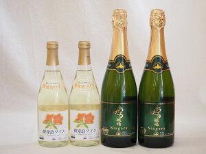 北海道おたるスペシャルスパークリングナイアガラ甘口ワイン4本セット(微発泡ナイアガラ500ml×2本、スパークリングナイアガラ720ml×2本)