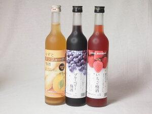 紀州産南高梅使用フルーツ梅酒3本セット (いちご梅酒 ブルーベリー ゆずとジンジャーの梅酒)500ml×3本 母の日 父の日