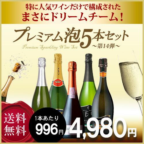 【送料無料】 第十四弾 プレミアム泡 5本セット スパークリングワイン