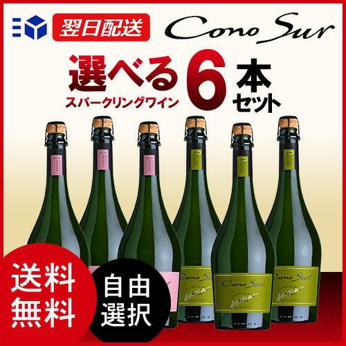 【あす楽】 コノスル スパークリング ブリュット ロゼ チリ 750ml 6本 ワインセット 【送料無料】【選べる】