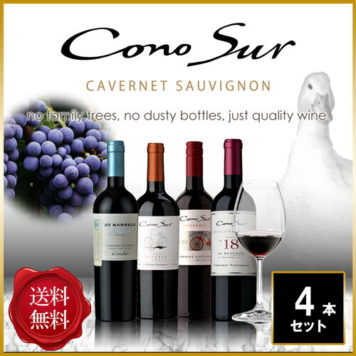飲み比べ コノスル カベルネ・ソーヴィニヨン チリ 赤ワイン 750ml 4本セット 【送料無料】 [N]