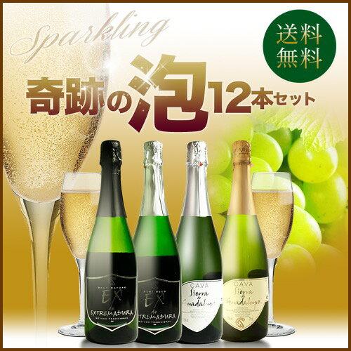 【送料無料】選べる 奇跡の泡12本セット スパークリングワイン 4種12本