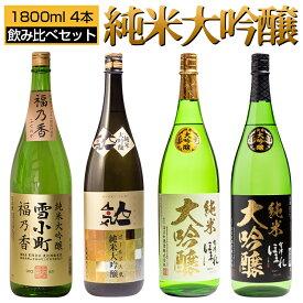 日本酒 純米大吟醸 飲み比べ 1800ml×4本セット 雪小町 人気一 純米大吟醸極 福島 郡山 二本松 喜多方 地酒 ふくしまプライド