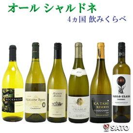 オール シャルドネ 4ヵ国 飲み比べ 白ワイン 6本セット【通常便 送料無料】【B6-005】
