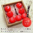<あす楽>カラーゴルフボール 名入れ6個&キーホルダー【赤】 還暦デザイン ゴルフ ボール あす楽 贈り物 ギフト プレゼント ホールイ…