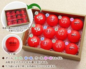 カラーゴルフボール名入れ12個セット・還暦デザイン・商品説明