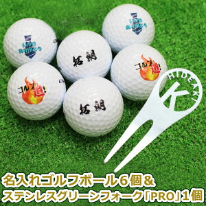 名入れゴルフボール6個&ステンレス切り文字グリーンフォーク1個セット