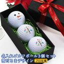 あす楽<プロ仕様>ゴルフボール 名入れ【雪だるまデザイン 3個】贈り物 ギフト プレゼント ホールインワン 記念品 ゴルフコンペ…