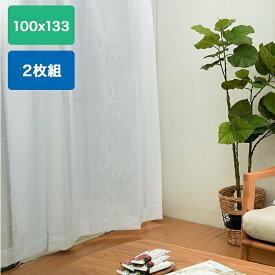 レースカーテン レースパミール 100cm ×133cm 2枚組 アイボリー 洗濯 洗える 花粉 花粉ブロック ミラー ミラー機能 シンプル ナチュラル 既製品 web限定 FS TS
