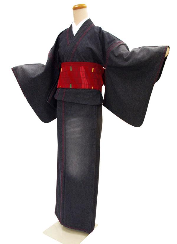 お仕立て上がり デニム着物巡-MEGURU-【着物単品】ブラック ダメージ加工【送料無料でお届けします】