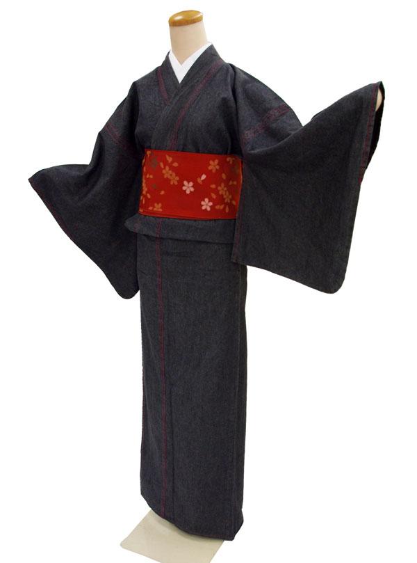 お仕立て上がり デニム着物巡-MEGURU-【着物単品】ブラック【送料無料でお届けします】