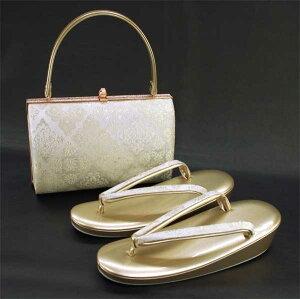 【送料無料】フリーサイズ 【足袋プレゼント特典付き】高級 金銀糸織 草履バッグセット