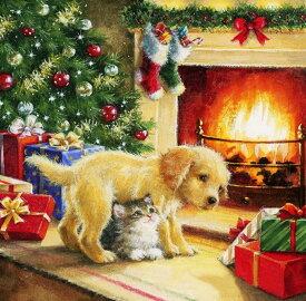 フル ダイヤモンドアート クリスマス 犬 猫 暖炉 ダイアモンドペインティング 刺繍キット ビーズ刺繍 絵画 ハンドメイド クロスステッチ 手芸 送料無料