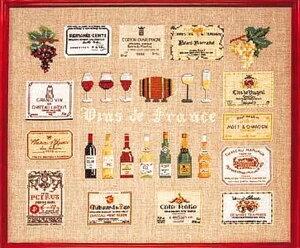 クロスステッチキット ワイン サンプラー 14カウント 葡萄 ワインボトル ラベル 刺繍キット ハンドメイド 初心者 送料無料