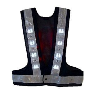 【まとめ買い10着販売】日本製 LED安全ベスト(照明用) 紺・白 フリーサイズ 夜間警備 夜間作業 まとめ買い