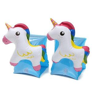 アームリング 浮き輪 アームフロート かわいい 幼児 子供用 プール 海水浴 水遊び 水泳 アームヘルパー おもちゃ (ユニコーン青)