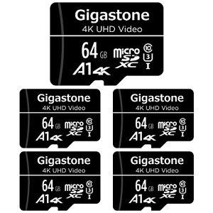 Gigastone マイクロSDカード 64GB Micro SD card SDアダプタ付き カードリーダー付 U1 C10 90MB/S SDXC 5個セット 4K Ultra HD ビデオ 撮影