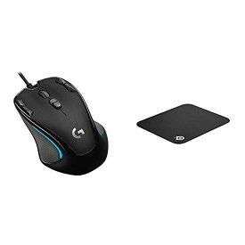 【セット買い】ゲーミングマウス Logicool ロジクール G300Sr ブラック 左右対称 プログラムボタン9個 高精度dpi 国内正規品 2年間メーカー保証 & SteelSeries QcK mini マウスパッド 63005