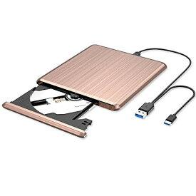 VersionTek 外付け DVD CD ポータブル ドライブ PCドライブ DVDプレーヤー CD/DVD読取・書込 DVD±RW CD-RW Type-C USB3.0 USB2.0 Windows/Linux/Mac OS対応 ピンク