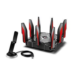 TP-Link WiFi ルーター ゲーミング 無線LAN MU-MIMO 2167 + 2167 + 1000 Mbps 3年保証 Archer C5400X + 無線LAN 子機 USB3.0 1300+600Mbps クレードル付き 3年保証 Archer T9UH