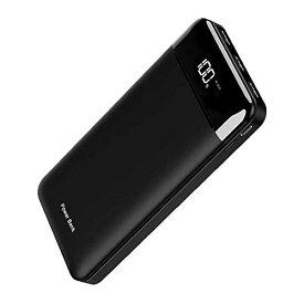 モバイルバッテリー 25000mAh 3個LEDランプ搭載 LCD表示 急速充電 PSE認証済 MicroとType-C入力ポート(2.4A+2.4A) 3USB出力ポート (2.4A+2.4A+2.4A) iPhone/iPad/Android に対応でき(Black)